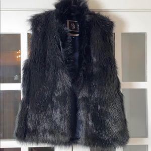 Faux Fur Hemp HOODLAMB Vest - black